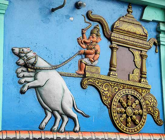 Ganesh on a carriage drawn by two rats, Sri Senthil Andavar temple in Tiruchendur