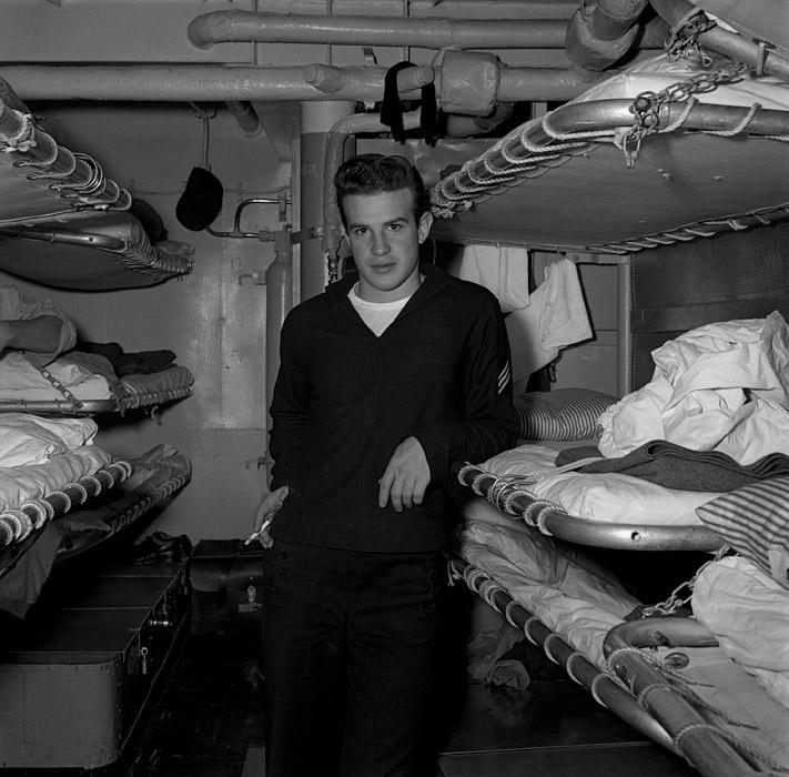 Sailor in sleeping compartment , USS Hugh Purvis,  DD 709