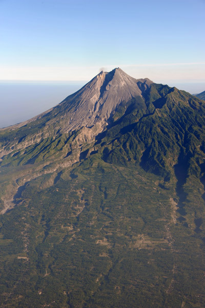 The flanks of the volcano are intensively farmed