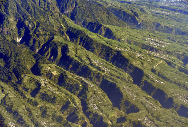 Deep valleys eroded into the fertile land on the north slope of Mt. Merapi