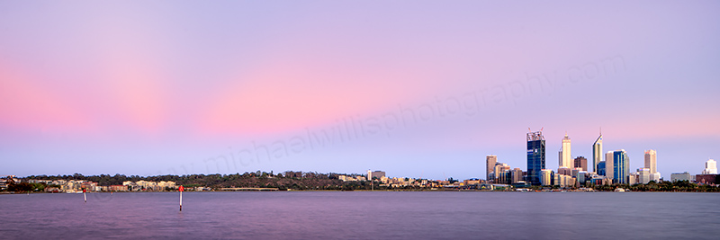 Perth and the Swan River at Sunrise, 1st December 2011