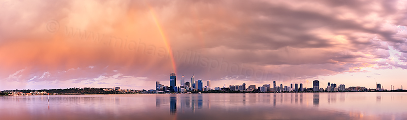 Sunrise Rainbow Over Perth and The Swan River, 5th December 2011