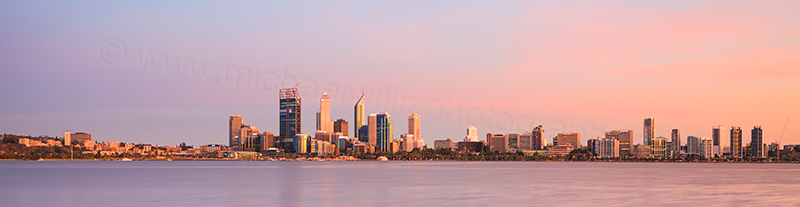 Perth and the Swan River at Sunrise, 17th December 2011
