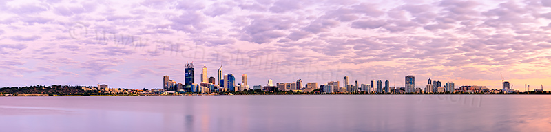 Perth and the Swan River at Sunrise, 2nd January 2012