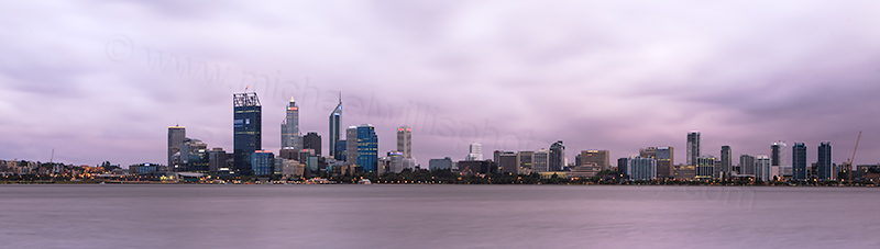 Perth and the Swan River at Sunrise, 6th January 2012