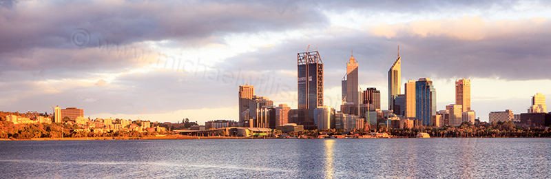 Perth and the Swan River at Sunrise, 7th January 2012