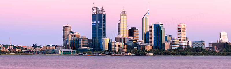 Perth and the Swan River at Sunrise, 9th January 2012