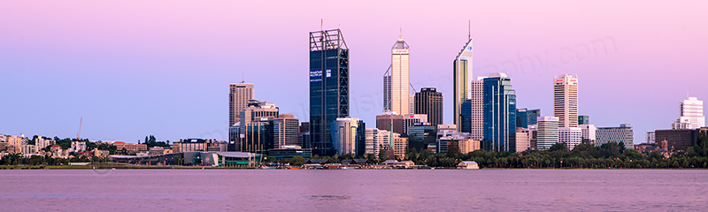 Perth and the Swan River at Sunrise, 15th January 2012