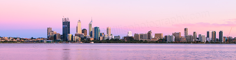 Perth and the Swan River at Sunrise, 18th January 2012