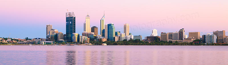 Perth and the Swan River at Sunrise, 21st January 2012
