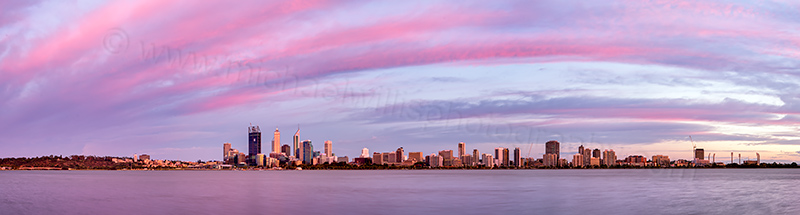Perth and the Swan River at Sunrise, 24th January 2012