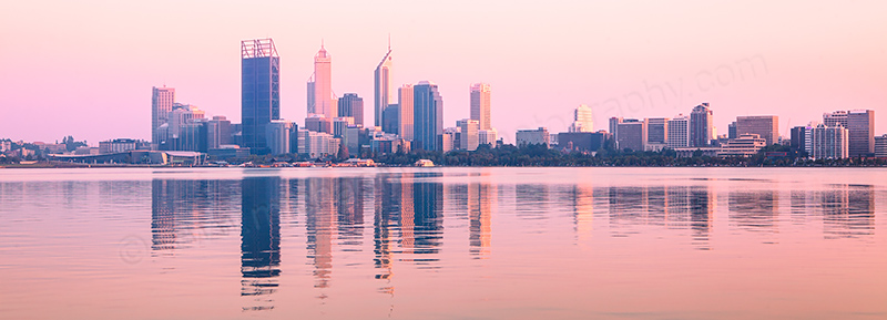 Perth and the Swan River at Sunrise, 14th February 2012
