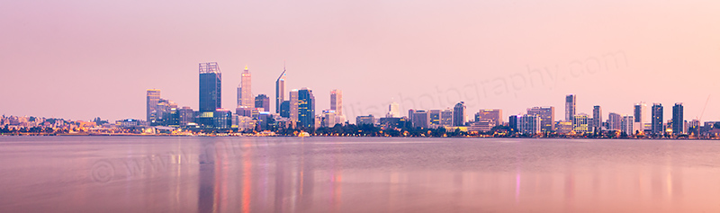 Perth and the Swan River at Sunrise, 17th February 2012