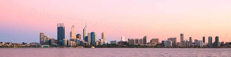 Perth and the Swan River at Sunrise, 21st February 2012