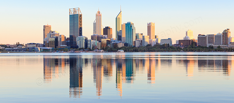 Perth and the Swan River at Sunrise, 18th March 2012