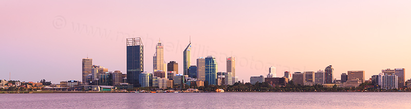 Perth and the Swan River at Sunrise, 20th March 2012