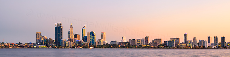 Perth and the Swan River at Sunrise, 29th March 2012