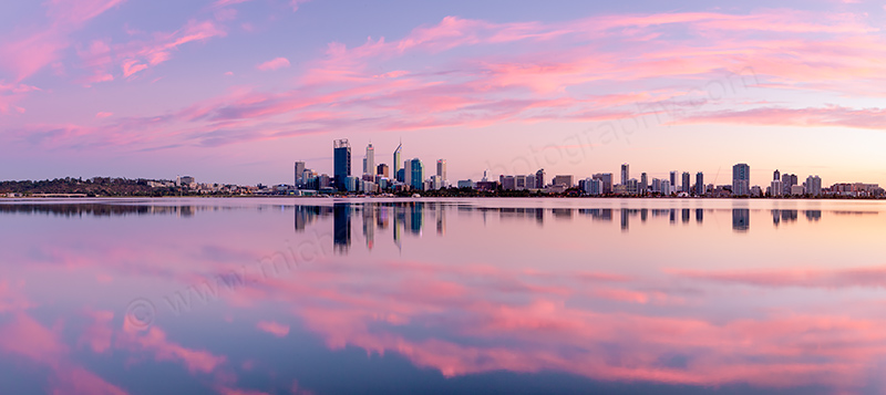 Perth and the Swan River at Sunrise, 31st March 2012