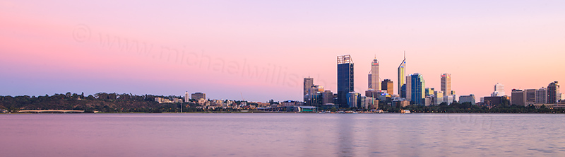 Perth and the Swan River at Sunrise, 10th April 2012