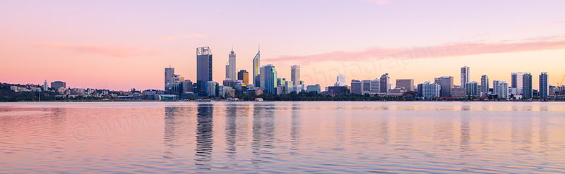 Perth and the Swan River at Sunrise, 14th April 2012