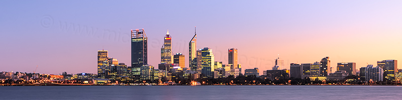 Perth and the Swan River at Sunrise, 24th May 2012