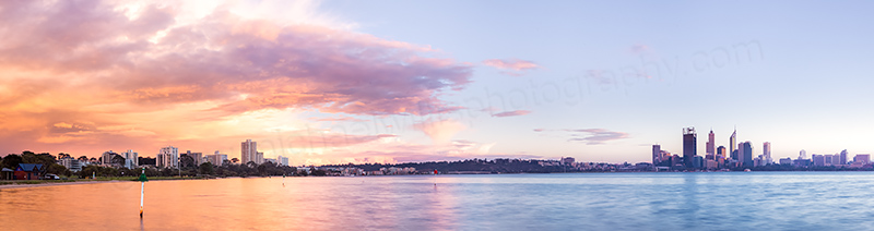 Perth and the Swan River at Sunrise, 31st May 2012