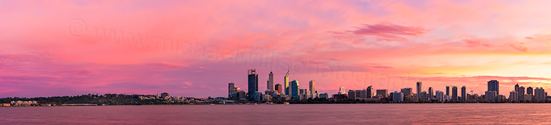 Perth and the Swan River at Sunrise, 5th June 2012