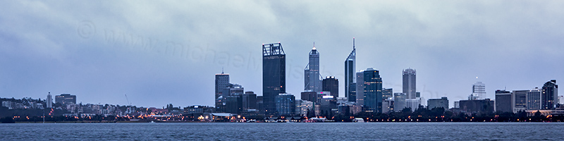 Perth and the Swan River at Sunrise, 10th June 2012