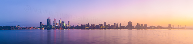 Perth and the Swan River at Sunrise, 15th June 2012
