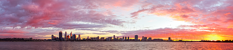 Perth and the Swan River at Sunrise, 17th June 2012