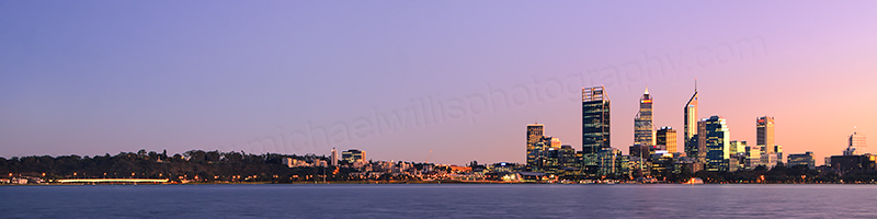 Perth and the Swan River at Sunrise, 18th June 2012