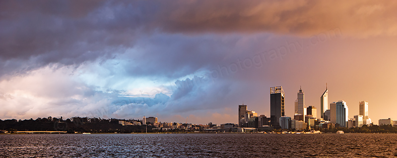 Perth and the Swan River at Sunrise, 20th June 2012