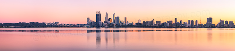 Perth and the Swan River at Sunrise, 22nd June 2012