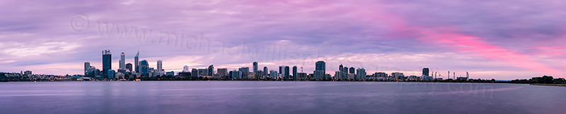 Perth and the Swan River at Sunrise, 24th June 2012