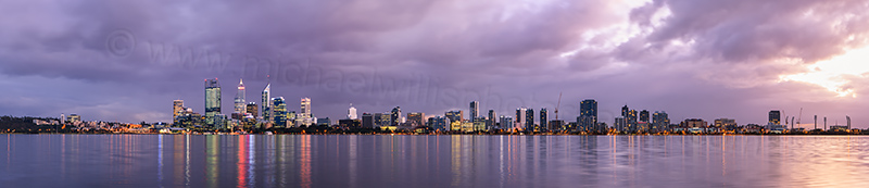 Perth and the Swan River at Sunrise, 28th June 2012