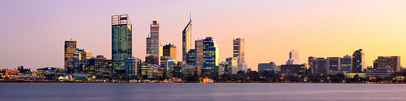 Perth and the Swan River at Sunrise, 3rd July 2012