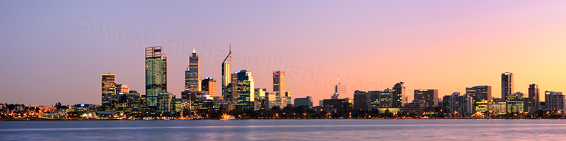 Perth and the Swan River at Sunrise, 4th July 2012