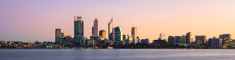 Perth and the Swan River at Sunrise, 5th July 2012