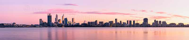 Perth and the Swan River at Sunrise, 6th July 2012