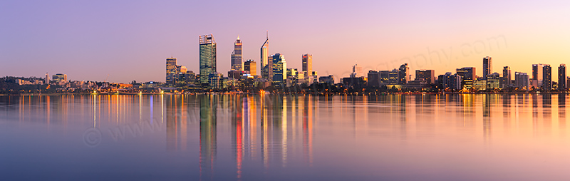 Perth and the Swan River at Sunrise, 18th July 2012