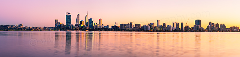 Perth and the Swan River at Sunrise, 19th July 2012