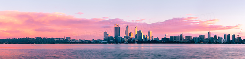 Perth and the Swan River at Sunrise, 23rd July 2012