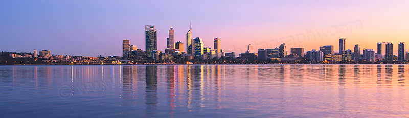 Perth and the Swan River at Sunrise, 27th July 2012