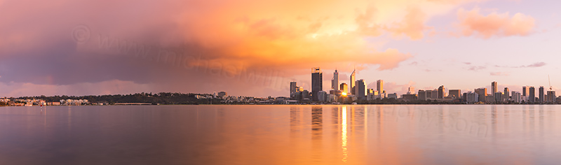 Perth and the Swan River at Sunrise, 1st August 2012