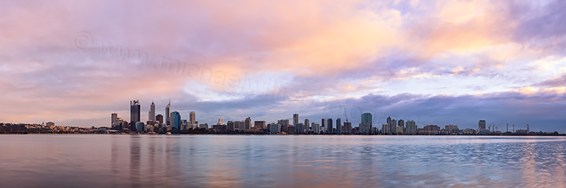 Perth and the Swan River at Sunrise, 3rd August 2012