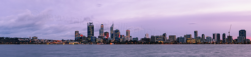 Perth and the Swan River at Sunrise, 6th August 2012