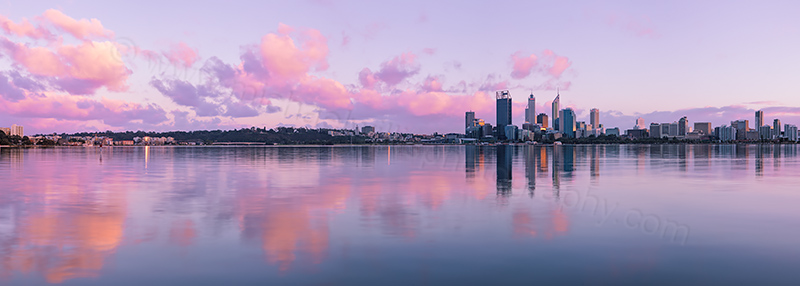 Perth and the Swan River at Sunrise, 13th August 2012