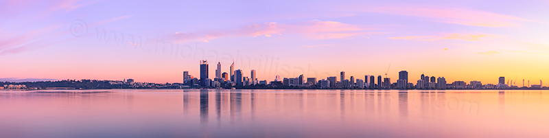 Perth and the Swan River at Sunrise, 16th August 2012