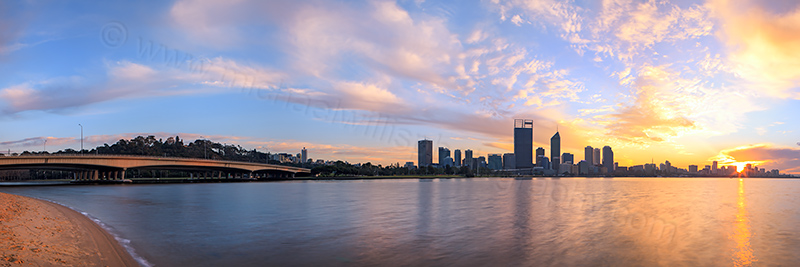 Perth and the Swan River at Sunrise, 20th August 2012