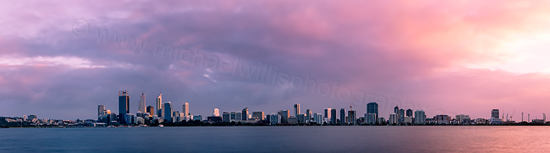 Perth and the Swan River at Sunrise, 22nd August 2012